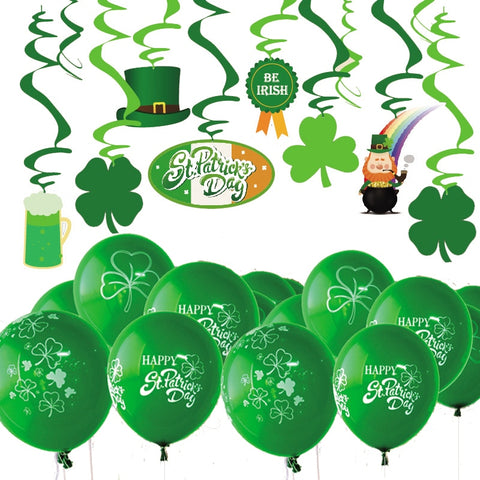 St Patrick's Day Party Decorarations With Hanging Foil Swirls Latex Balloon Clever Pattern