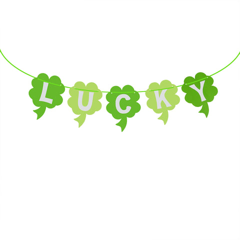 3 Meters Four Leaf Clover Banners LUCKY Paper Banners Garland St.Patrick Day Party Decorations
