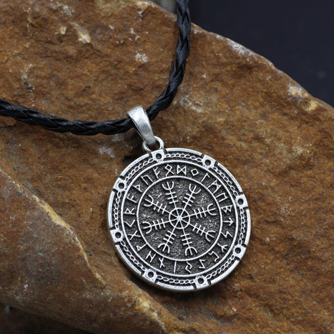 Men Viking Odin Symbol Rune Amulet Knot Vegvisir Compass  Pendant Necklace