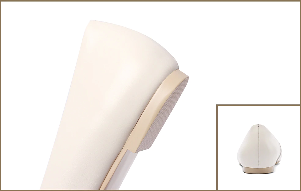 Ordoñez Flat Shoe Leather Color Creamy-White Ultra Seller Shoes Online Shop