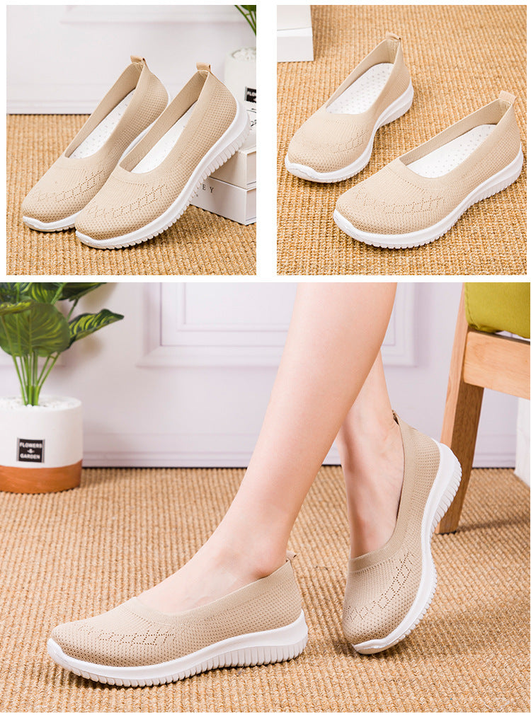 Kacy Women's Slip-on Loafers beige, Breathable Knit Flat Walking Shoes