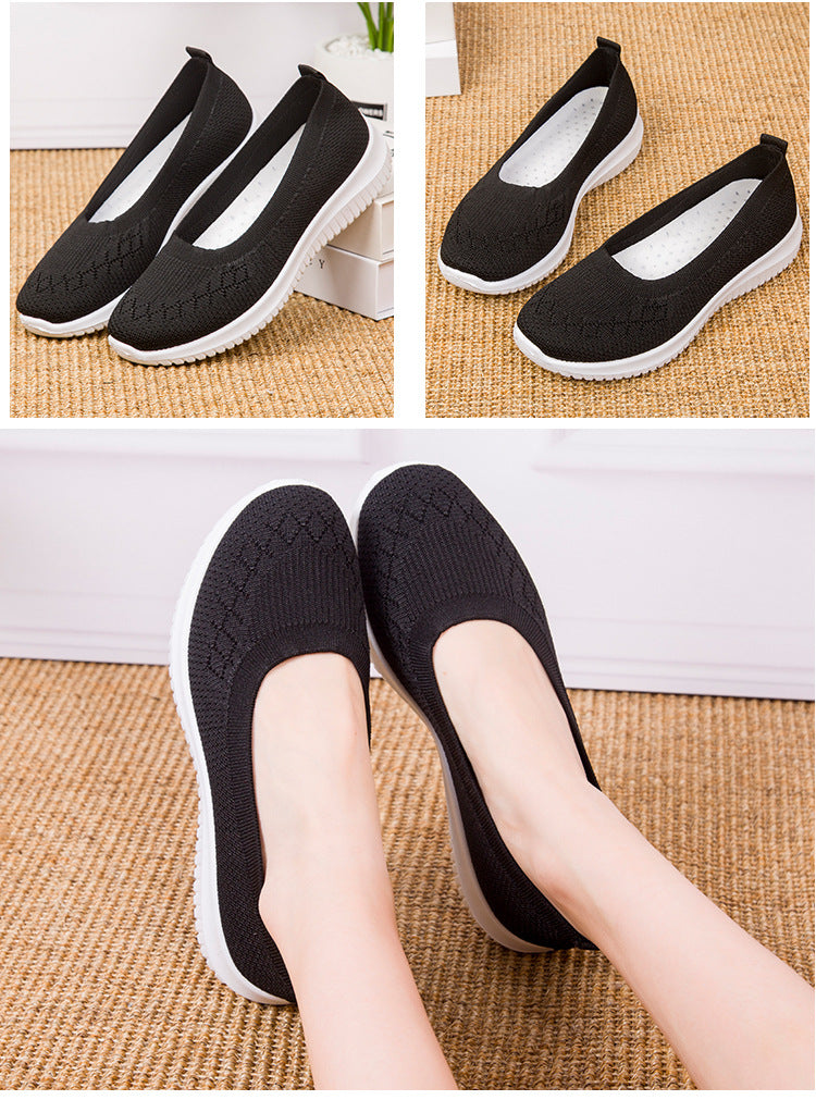 Kacy Women's Slip-on Loafers black, Breathable Knit Flat Walking Shoes