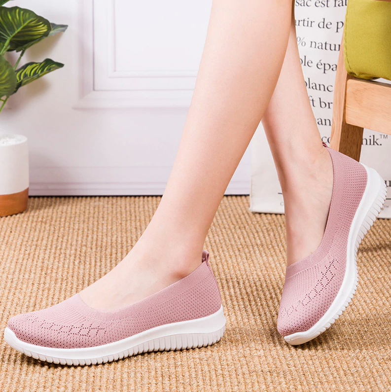 Kacy Women's Slip-on Loafers pink, Breathable Knit Flat Walking Shoes