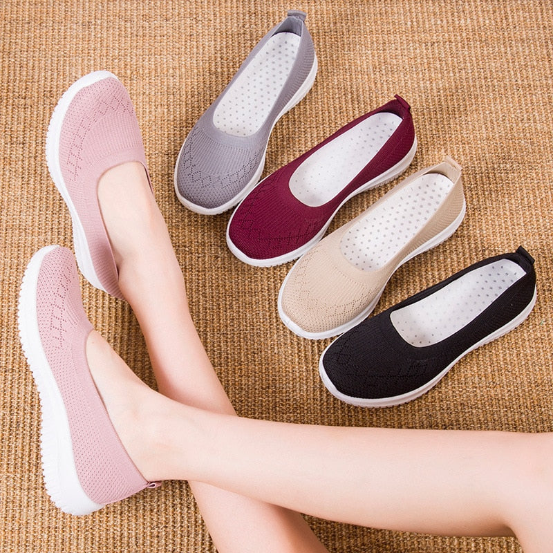 Kacy Women's Slip-on Loafers black, pink, beige, red Breathable Knit Flat Walking Shoes
