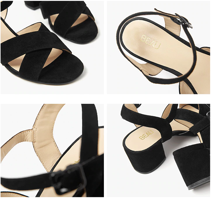 Mitchell Sandals Shoe  Suede Leather Color Black Ultra Seller Shoes Online Store