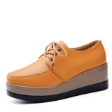 Women's platform Genuine leather Shoes yellow