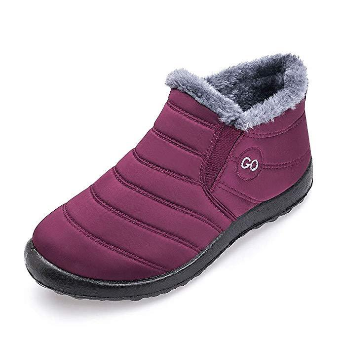 US Women Winter Snow Shoes Fur Lined Warm Boots Non-slip Outdoor Casual Sneakers