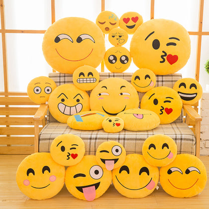 30cm Soft Yellow Emoji Round Cushion Emoticon - AwesomeIWantThat.com