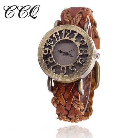 Vintage Braided Leather Bracelet Watch - AwesomeIWantThat.com