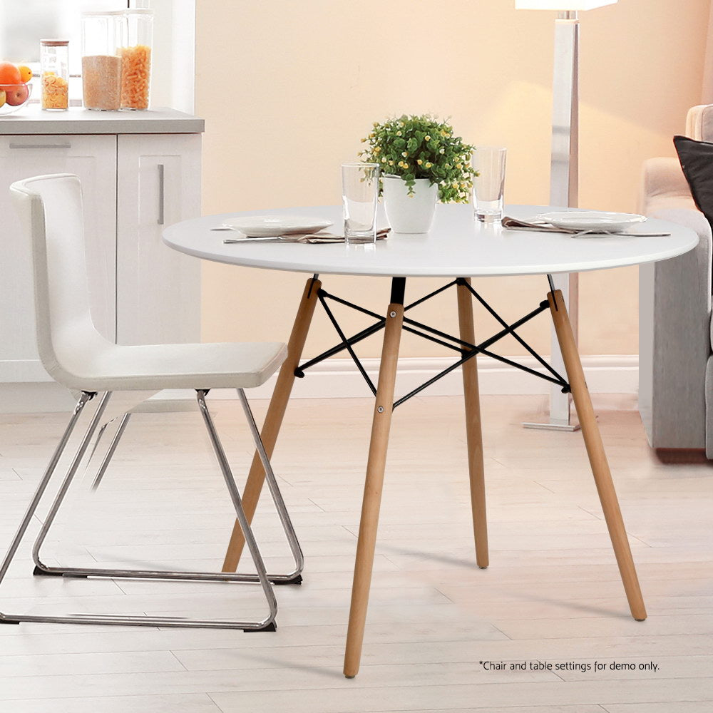 Artiss Round Dining Table 4 Seater 100cm White Replica Eames DSW Cafe Timber Table (Not available in TAS, WA & NT or any remote/regional areas)