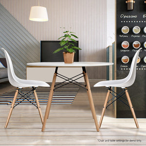 Artiss Round Dining Table 4 Seater 80cm White Replica Eames DSW Cafe Kitchen Retro Timber Wood MDF Table