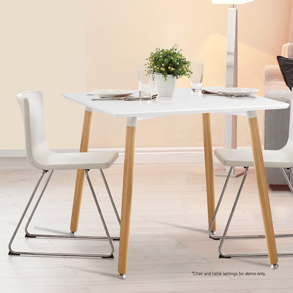 Artiss Square Dining Table 4 Seater 80cm White Replica Eames DSW Cafe Kitchen Retro Timber Wood MDF Table