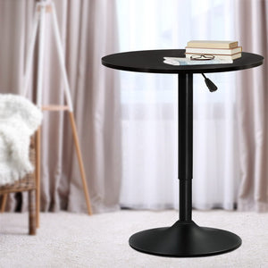Artiss Adjustable Bar Table Gas Lift Wood Metal Black