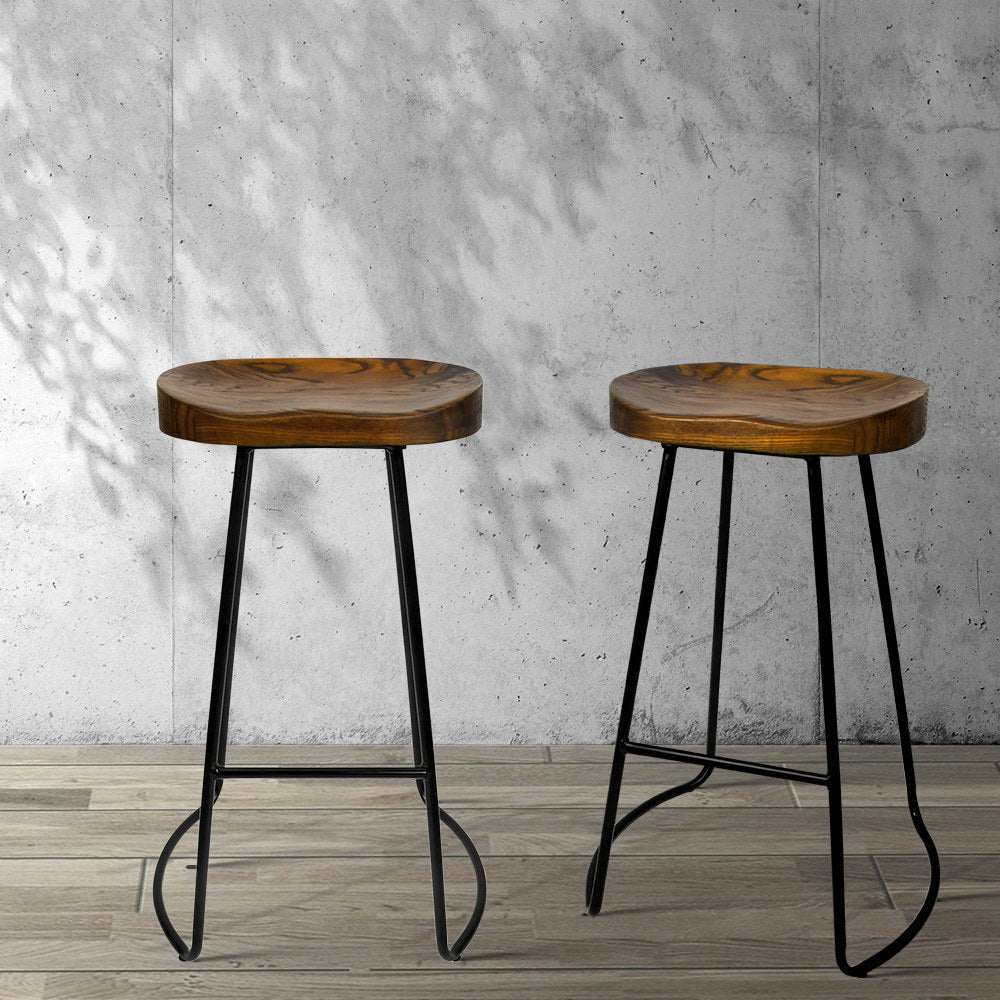 Set of 2 Steel Barstools with Wooden Seat