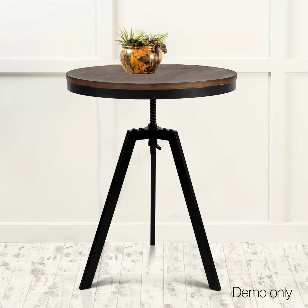 Industrial Dining Table Dark Brown and Black