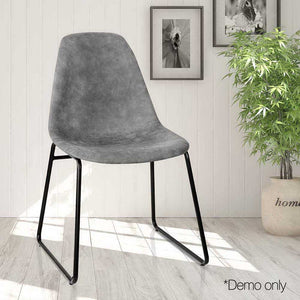 Set of 2 PU Leather Dining Chairs Grey