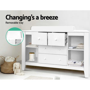 Keezi Change Table with Drawers - White - (Not available in TAS, WA, NT or Regional QLD & Far Nth QLD)