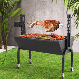 Grillz Electric Rotisserie BBQ Charcoal Smoker Grill Spit Roaster Outdoor Burner