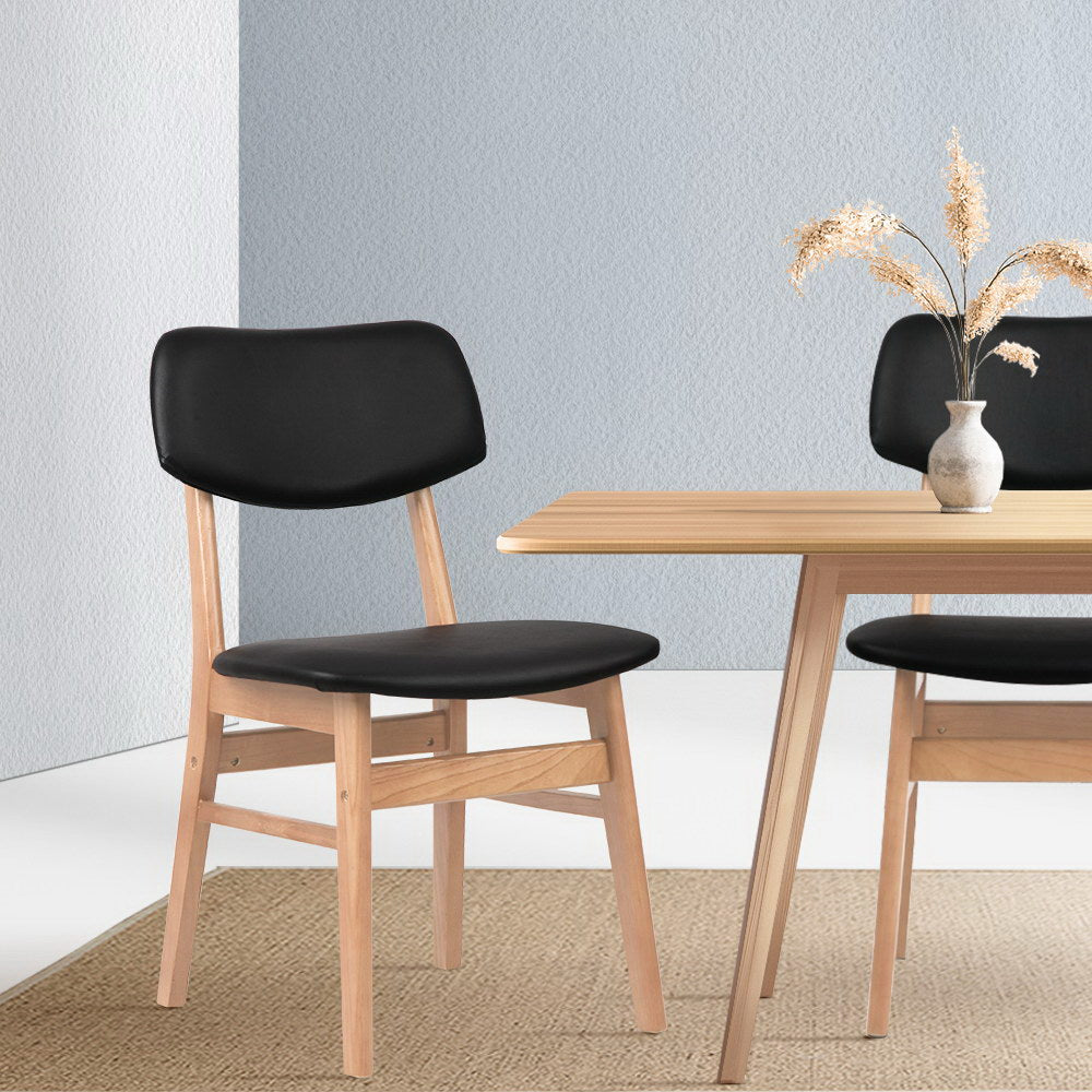 Set of 2 Replica Dining Chair Black/Wooden