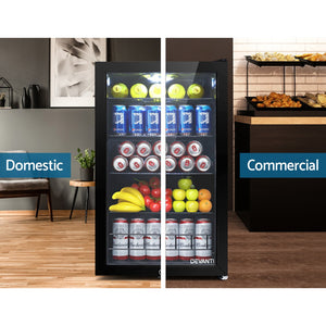 Devanti 115L Bar Fridge Glass Door Mini Freezer Fridges Countertop Beverage Commercial - (Not available in TAS, WA & NT)