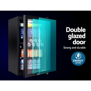 Devanti 98L Bar Fridge Glass Door Mini Freezer Fridges Countertop Beverage Commercial - (Not available in TAS, WA & NT or any remote/regional areas)