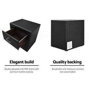 PU Leather Bedside Table 2 Drawers Black