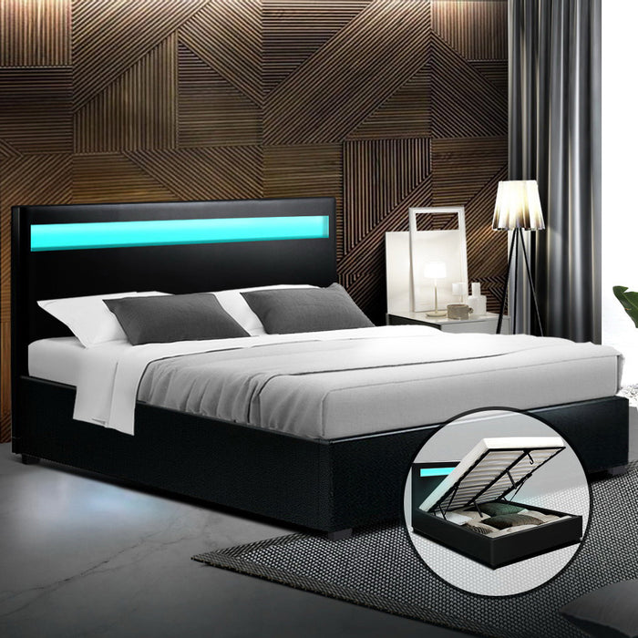 Artiss LED Bed Frame Double Full Size Gas Lift Base With Storage Black Leather (excl-Regional QLD & WA, Far Nth QLD, NT & WA Remote)