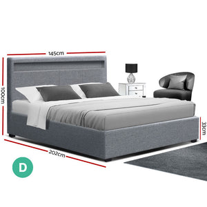 Artiss Bed Frame Double Full Size Gas Lift Base With Storage Grey Fabric COLE (excl-Regional QLD & WA, Far Nth QLD, NT & WA Remote)