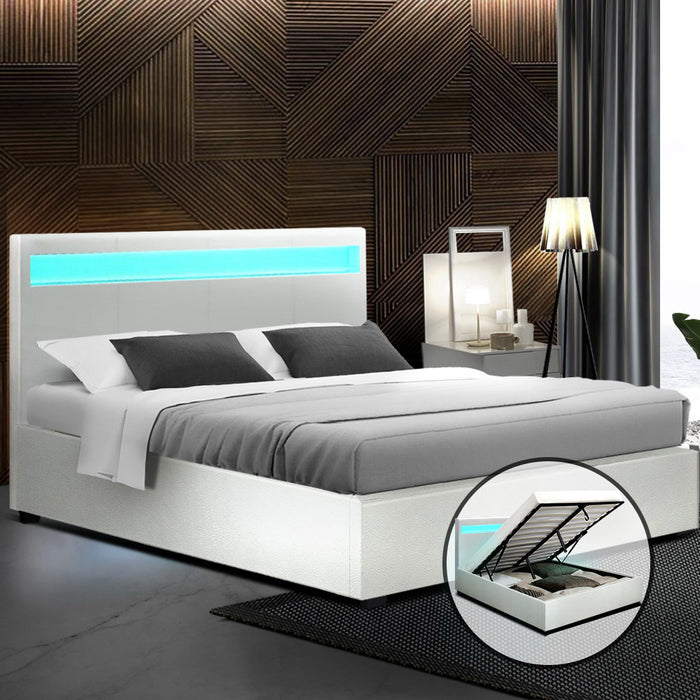 Artiss LED Bed Frame Queen Size Gas Lift Base With Storage White Leather (excl-Regional QLD & WA, Far Nth QLD, NT & WA Remote)