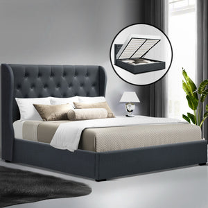 Artiss Double Full Size Gas Lift Bed Frame Base With Storage Mattress Charcoal Fabric Wooden - (Only available in VIC, NSW, SA & ACT)