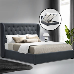 Artiss King Size Gas Lift Bed Frame - Charcoal - (Only available in VIC, NSW, SA & ACT)