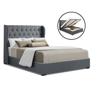 Artiss King Size Gas Lift Bed Frame Base With Storage Mattress Grey Fabric Wooden - (Only available in VIC, NSW, SA & ACT)