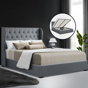 Artiss Queen Size Gas Lift Bed Frame Base With Storage Mattress Grey Fabric Wooden - (Only available in VIC, NSW, SA & ACT)