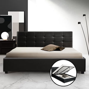 Artiss LISA Queen Size Gas Lift Bed Frame Base With Storage Mattress Black Leather - (Not available in WA, NT and Far NQ)