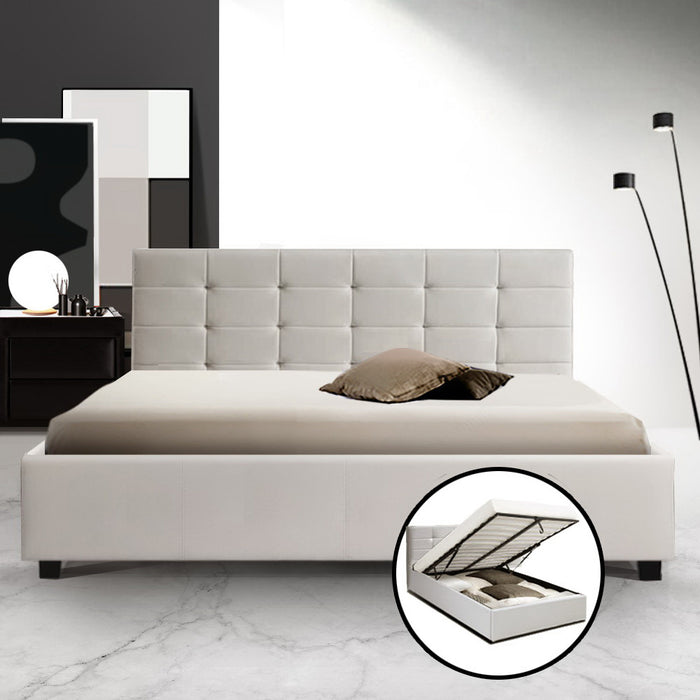 Artiss LISA Queen Size Gas Lift Bed Frame Base With Storage Mattress White Leather - (Not available in WA, NT and Far NQ)