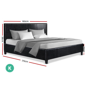Artiss King Size Bed Frame Base Mattress - exclude FNQ, NT, WA RegionalPlatform Leather Wooden Black NEO