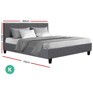 Bed Frame King Size Base Mattress Platform Full Size Fabric Wooden Grey NEO - (Not available in NT or any remote/regional areas)