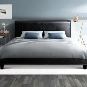 Queen PVC Leather Bed Frame Black  (Not available in NT or any remote/regional areas)