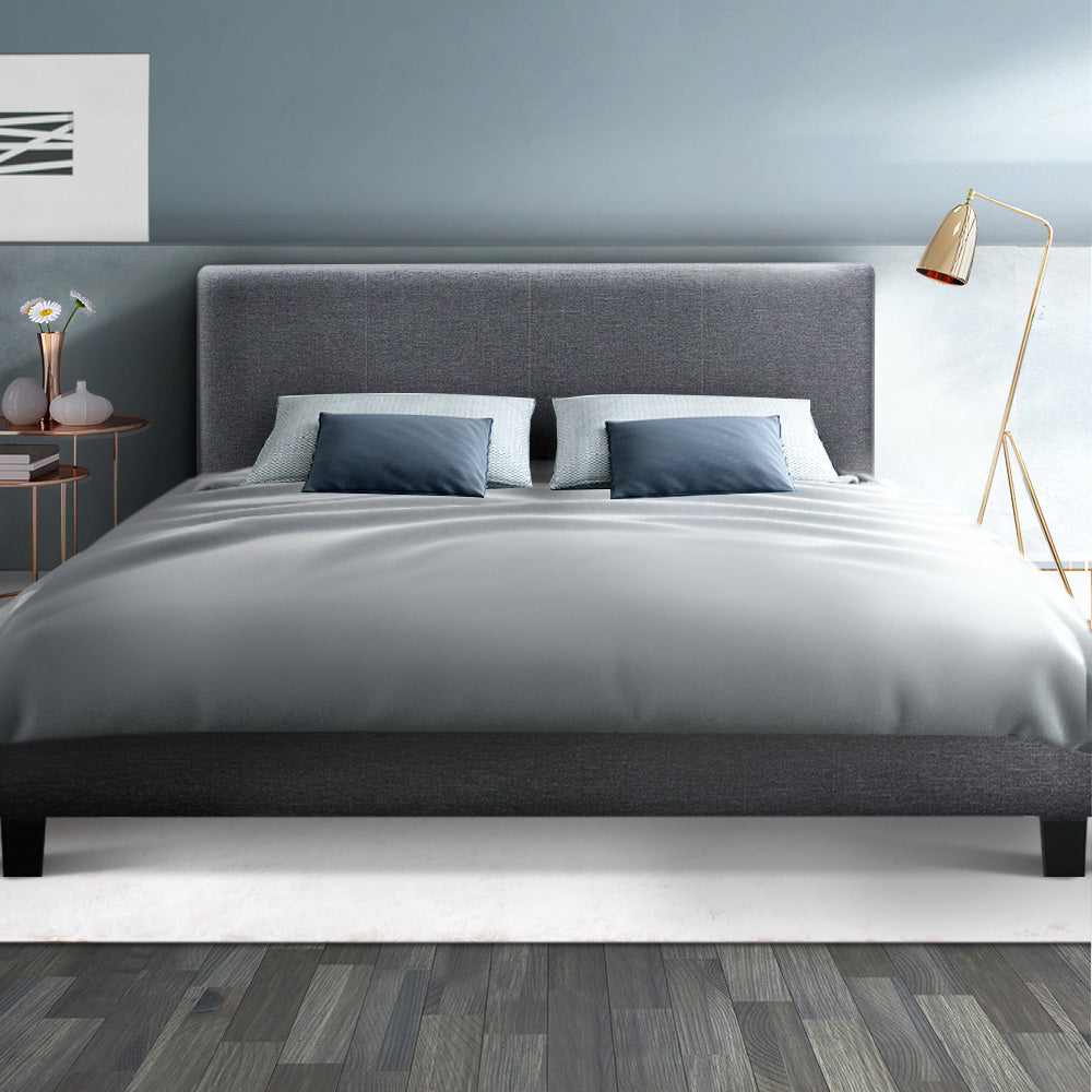 Bed Frame Queen Size Base Mattress Platform Full Size Fabric Wooden Grey NEO (Not available in NT or any remote/regional areas)