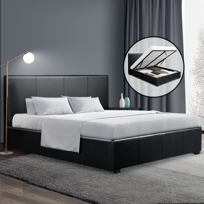 PU Leather Gas Lift Bedframe Black Double - (Not available WA, NT and Far NQ)