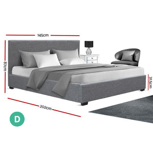 Double Gas Lift Fabric Bed Frame Grey - (Not available WA, NT and Far NQ)