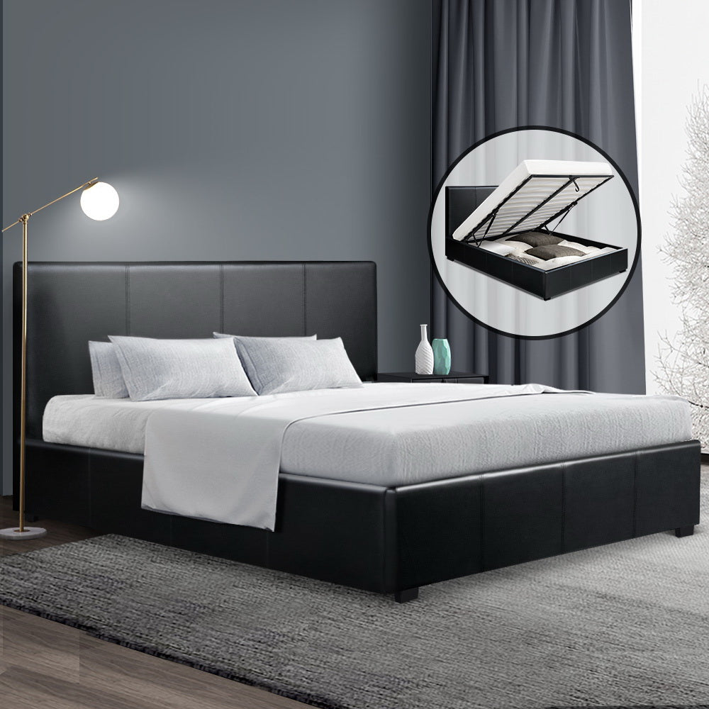 PU Leather Gas Lift Bedframe Black Queen (excl-Regional QLD & WA, Far Nth QLD, NT & WA Remote)
