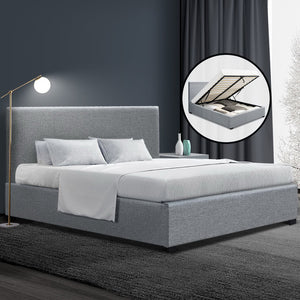 Queen Gas Lift Fabric Bed Frame Grey - (Not available WA, NT and Far NQ)