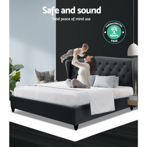 Artiss Queen Size Bed Frame Base Mattress Platform Fabric Wooden Charcoal PIER (excl-Regional QLD & WA, Far Nth Qld, NT & WA Remote)