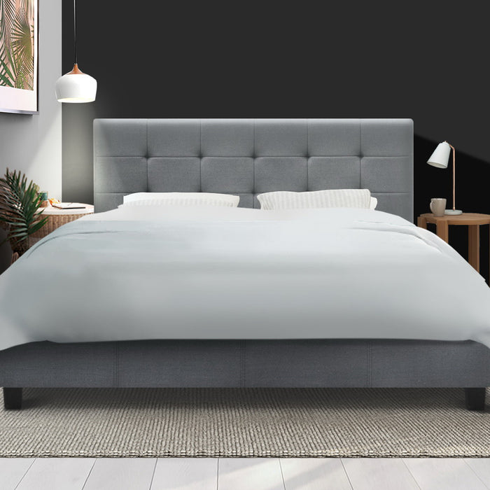 Bed Frame Queen Size Base Mattress Platform Fabric Wooden Grey SOHO - (Not available in NT or any remote/regional areas)