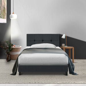 Artiss SOHO Single Size Bed Frame Tufted Headboard Fabric Charcoal (excl FNQ, NT & Regional WA)