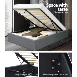Artiss Double Full Size Gas Lift Bed Frame Base With Storage Platform Fabric  - (Only available in VIC, NSW, SA & ACT)