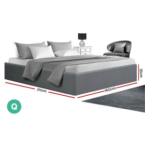 Artiss Queen Size Gas Lift Bed Frame Base With Storage Platform Fabric - (Only available in VIC, NSW, SA & ACT)