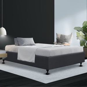 Artiss King Single Size Bed Base Frame Mattress Platform Fabric Wooden Charcoal TOMI (excl-Regional QLD & WA, FNQ, NT & WA Remote)