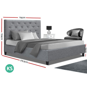 Artiss King Single Size Bed Frame Base Mattress Platform Fabric Wooden Grey VAN (Not available in NT or any remote/regional areas)